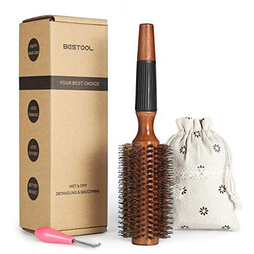 BESTOOL Cepillo de pelo con cerdas de jabalí y nailon para peinar, secar, rizar, agregar volumen y brillo (2.5 inch)