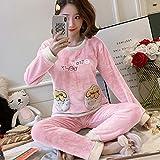 ZHRDRJB Conjunto De Pijamas para Mujeres,Invierno Grueso Caliente Franela Pijama Ropa De Dormir Manga Larga Cuello Redondo Jersey Dulce Preciosa Fresa Rosa Coral Terciopelo Homewear Pyjamas Set,XL