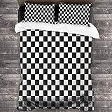LINARUBE Juego de Ropa de Cama-Composición monocromática a Cuadros con Mosaico Abstracto Inspirado en el Tablero de ajedrez clásico,Juego de Funda Nórdica y 2 Funda de Almohada(Single 135x210cm)