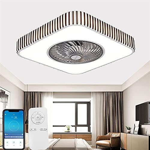 Ventilador de techo con iluminación LED, ventiladores de techo de estilo de piano con lámparas, aplicaciones y control remoto 3 Color cambiante y 3 Velocidad de viento para sala de estar (Talla : B)
