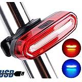 tian 自転車用  テールライト、2色USB充電式 高輝度LEDライト 6種点灯モード (赤、青)