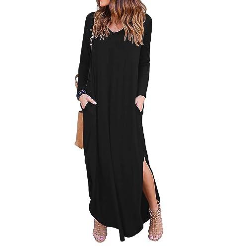 14229317a18 GRECERELLE Women s Casual Loose Pocket Long Dress Short Sleeve Split Maxi  Dresses