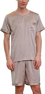 YAOMEI Mens Pyjamas Set Satin Short, 2019 Mens Silky Short Sleeves Nighties PJ Set Sleepwear Nightwear, Luxury Summer Ling...