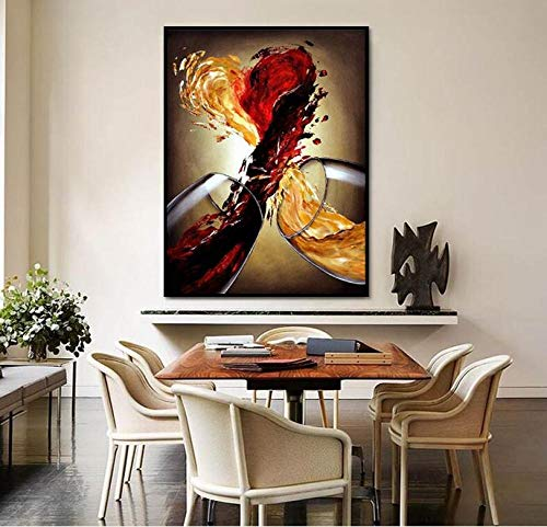 ZDFDC Lienzo Arte de la Pared Pintura Vino Tinto Amor Carteles e Impresiones Cuadro para Bar Cocina Restaurante Decoración del pasillo-60x90cmx1_sin Marco