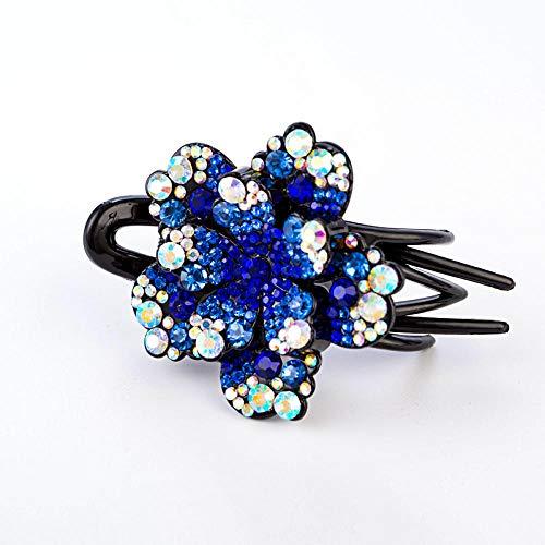 Accessoires pour cheveux Élégant pince à cheveux à l'arrière de la pince à pince à tête grand disque cheveux accessoires pour cheveux en épingle à cheveux strass coiffure trois dents clip-Bright blue