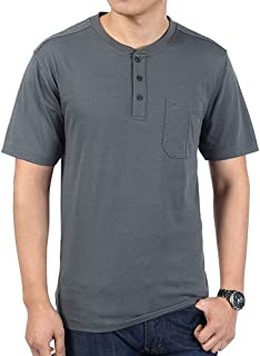 SELILALI Men's Summer T-Shirt Casual Basic Tops Cotton Front Placket Short Sleeve Henley Shirts with Pocket