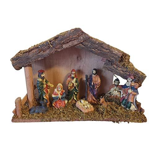 blessvt Weihnachtskrippe Holz Krippenstall Traditionelle Holzkrippe Szenen Set Harz Krippenfiguren Desktop Dekor Figurenset Krippe Ornament 30x10x20 cm