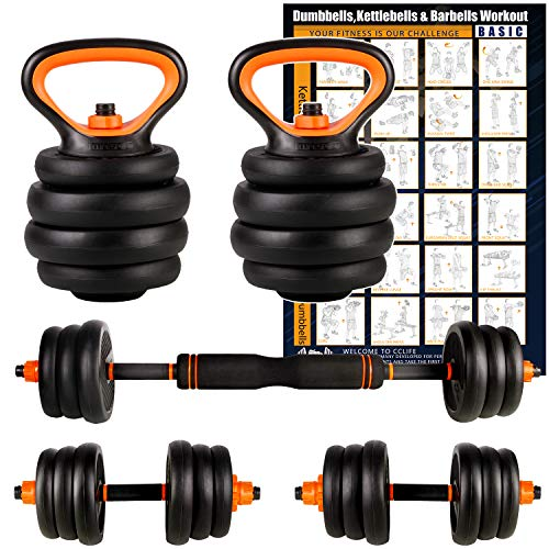 CCLIFE Adjustable Weights Dumbbells Set, Multifunctional Dumbbell &Kettlebell & Barbell Set for Home Gym Office Exercise and Strength Training, Colour:With Connecting Pipe, 2 x 10 KG