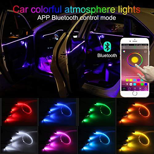 TABEN Neonleuchtleisten für das Auto, 4-teiliges Set, mit 8 Farben, zur Autodekoration, Stimmungslicht, Innenraumbeleuchtung, wasserdicht, DC12V (1 Set)