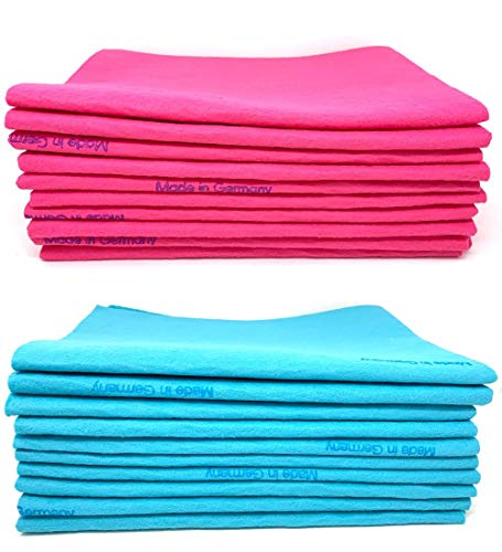 10 Pack Blue and Pink Extra Large Original German Shammy Cloths Chamois Towels Super Absorbent for Pets, Parenting Tool Cleaning for Home and Commercial Use Wholesale Bulk Lot