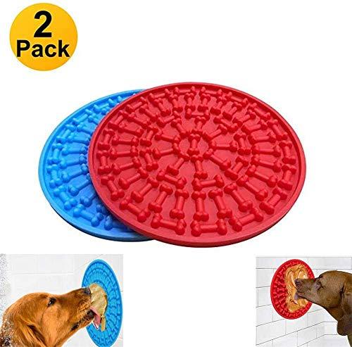 KRY 2 stks Hond Lick Pad, Bad & Grooming Langzame Voedermachines, Hond Wassen Afleiding Apparaat, Krachtige Zuignappen op de Achterkant- Gewoon Pindakaas Boter toevoegen om Bad tijd gemakkelijk (Blauw&Rood), OneSize, Blauw en rood