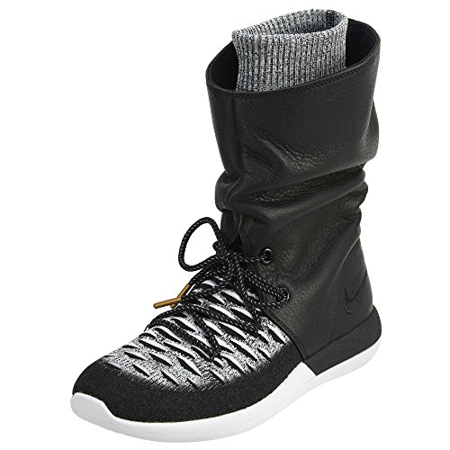 Nike Womens Roshe Two Hi Flyknit Trainers 861708 Sneakers Boots (UK 5 US 7.5 EU 38.5, Black White 002)