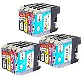 AAinks Compatible Tinta Cartucho Reemplazo Por Brother DCP-J4120DW J562DW MFC-J4420DW J4620DW J4625DW J480DW J5320DW J5620DW J5625DW J5720DW J680DW J880DW LC223 (Negro/Cyan/Magenta/Amarillo, 12-Pack)