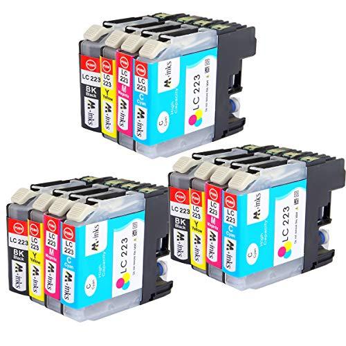 ECSC kompatibel Tinte Patrone Ersatz für Brother DCP-J4120DW J562DW MFC-J4420DW J4620DW J4625DW J480DW J5320DW J5620DW J5625DW J5720DW J680DW J880DW LC223 (B/C/M/Y, 12-Pack)