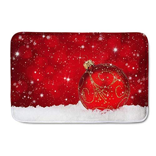 Bola de Navidad Alfombra de Piso Copo de Nieve Rojo Decoración del hogar Adorno Área Alfombra Alfombra Alfombra Antideslizante Felpudos para Sala de Estar Dormitorio,Merry Christmas,50 * 80cm
