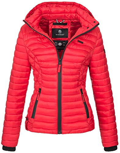 Marikoo Damen Jacke Steppjacke Übergangsjacke mit Kapuze gesteppt B600 [B600-Samt-Rot-Gr.M]