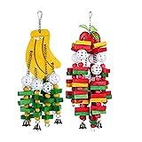 Cobeky 2 piezas juguete masticar pájaros grande mediano jaula de loro mordedura juguetes africanos gris guacamayos cacatus éclectus, plátano