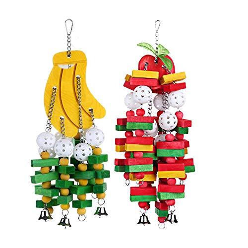 Vaorwne 2 piezas juguete masticable para pájaros, tamaño grande, mediano, jaula de loro, juguetes africanos, guacamayos grises, cacatus, éclectus, plátano