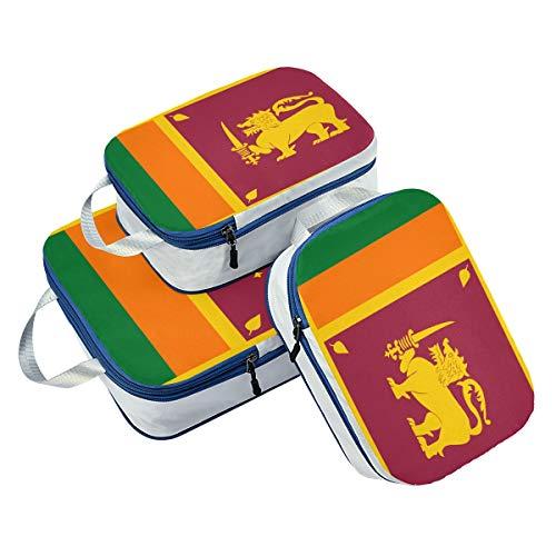 Juego de 3 Cubos de Embalaje de la Bandera de Sri Lanka, organizadores de Equipaje de Viaje
