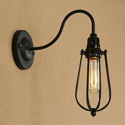 QFF binnenverlichting, retro wandlamp, industriële stijl, zwart, draad, schaduw, slaapkamer, studio, ingenieur, wandlamp, E27, kalklicht