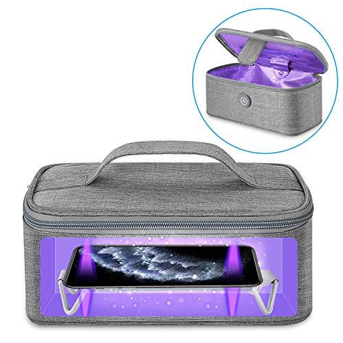 Vemingo uvc sterilizzatore Box, portatile disinfection Borsa con lampada UV Sanitizer, Disinfezione rapida 99% per chiavi per biberon cellulare Strumenti di bellezza / Grigio