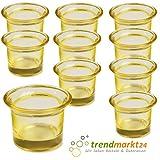 trendmarkt24 Teelichtglas-Set gelb 10er Set ca. 6,5 x 4,5 cm groß Windlicht-Glas Teelichtgläser  ...