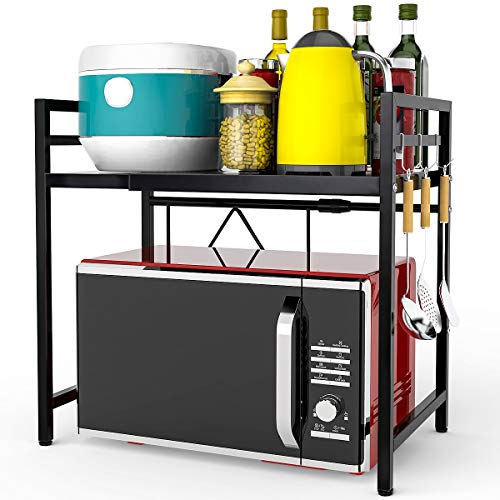 FUNSEED Expandable Microwave Oven Rack Horizontal Extension Carbon Steel Microwave Shelf 2-Tier Kitchen Counter Top Shelf Organizer with 3 Hooks 66lbs Load Bearing Black