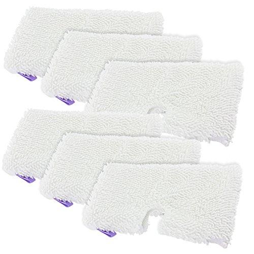 SPARES2GO Microvezel Cover Pocket Pads voor Shark S2901 S3455 S3501 S3502 S3601 S3701 S3901 Stoomreiniger Mop (Pack van 6)