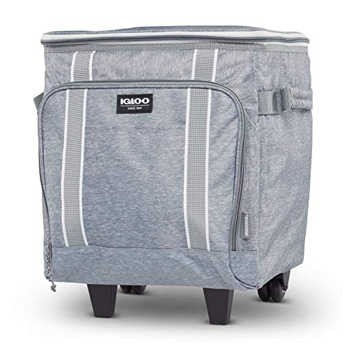 Igloo 40 Can Large Portable Lunchbox Soft Sided Insulated Cooler Box with Wheels and Height Adjustable Pull Bar for Hiking, Camping, Fishing, and Picnics, Light Gray