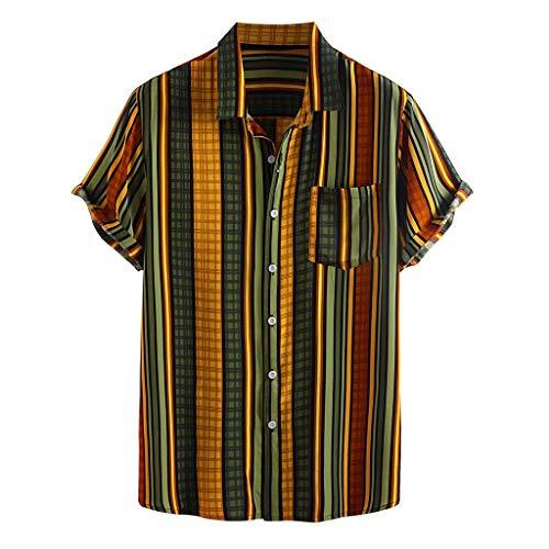 Yowablo Chemises Hommes Rayé Imprimé Col Rabattu Manches Courtes Décontracté (M,4Jaune)