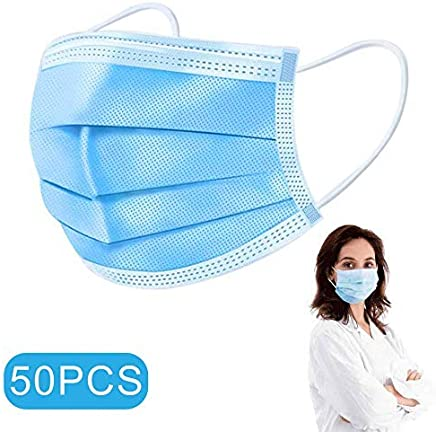 Masks Disposable medical mask-Protect Yourself from Dust, Germs and Pollen – Ideal for Medical, Surgical, Catering and Construction Workers (50, Blue) Masks In Stock