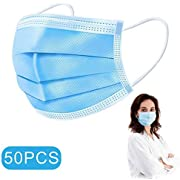 Love You Forever and Attention Your Health, 50PCs Disposable Face Mašk, 3-Ply Safety with Elastic Ear Loop, In stock, Fulfilled by Amazon (Blue)