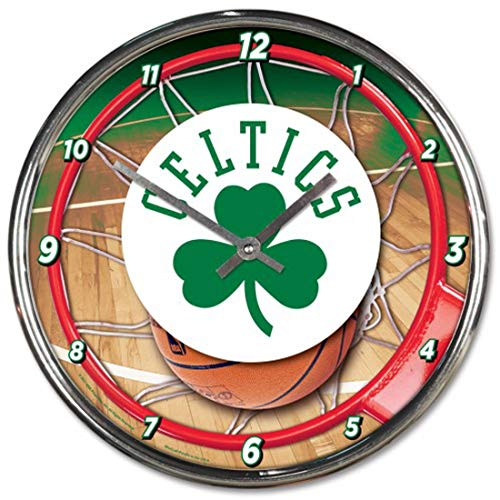 Boston Celtics 12 inch Round Wall Clock Chrome Plated