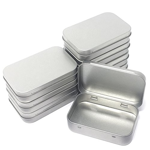 8-Pack Metal Hinged Tin Box Containers With Solid Hinged Top,Use for First Aid Kit,Survival Kits,Storage,Herbs,Pills,Crafts and More.
