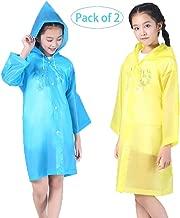 Luckyiren Raincoat Rain Poncho Jacket Slicker Outwear for Children[Thicker & Reusable & Lightweight] Emergency Rain&Wind Coat Cloak Wear for 6-12 Y/O. Boys&Girls for Disney World, Cool for Kids