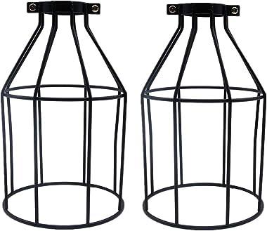 abat jour plafond Fellibay abat jour industriel Lot de 2 cages de protection pour ampoules vintage, Noir, 4.72 * 7.48 inch