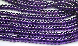 Jewel Beads Natural Beautiful jewellery 8 Inch Strand,Super Rare Finest Quality Purple Natural African AMETHYST Smooth Polished Rondelles 5-5.5mmCode:- JBB-39310