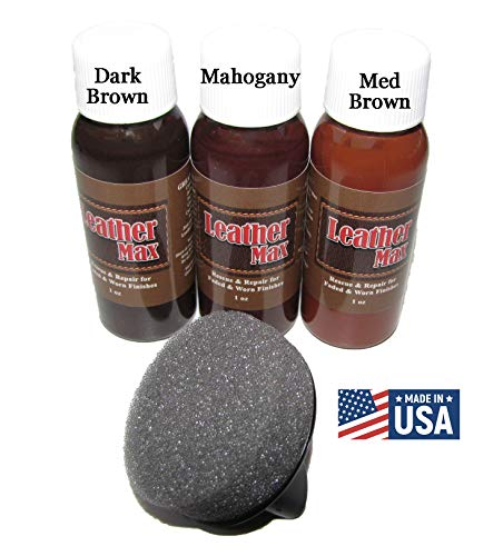 Leather Max Quick Blend Refinish and Repair Kit, Restore Couches, Recolor Furniture & Repair Car Seats, Jackets, Sofa, Boots / 3 Color Shades to Blend with/Leather Vinyl Bonded and More (Dark Browns)