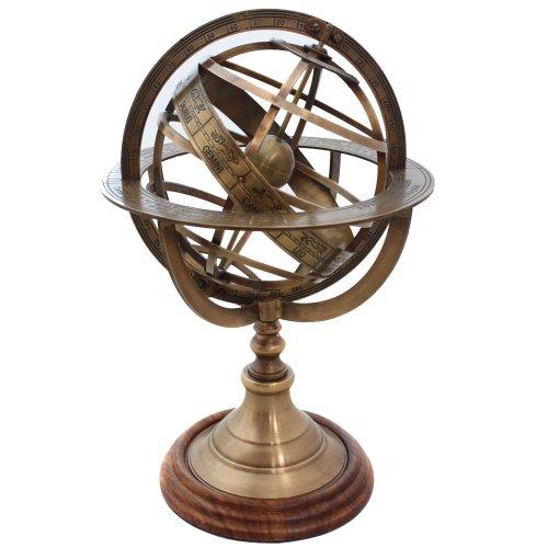 EcWorld Enterprises 7764323 Engraved Brass Tabletop Armillary Nautical Sphere Globe