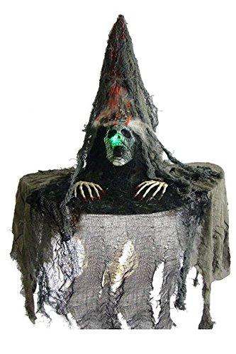 Chapeau sorcière avec tête de mort lumineux