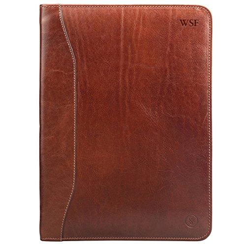 Maxwell-Scott Personalisierte Hochwertige Leder Dokumentenmappe Dimaro in Cognac Braun