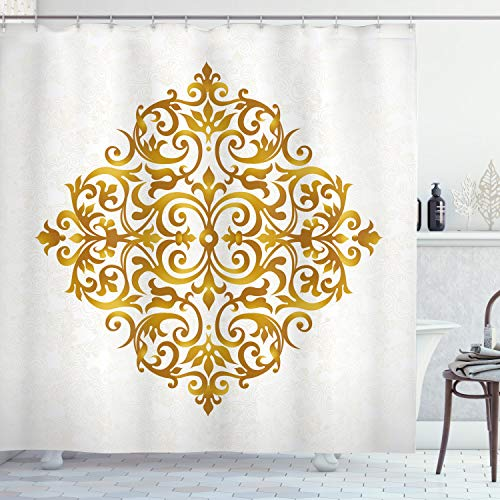 ABAKUHAUS Mandala Duschvorhang, Victorian Königs Entwurf, Moderner Digitaldruck mit 12 Haken auf Stoff Wasser und Bakterie Resistent, 175 x 200 cm, Blass Karamell Weiß