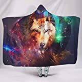 WellWellWell Manta mágica con capucha y diseño de lobo, multifuncional, para adultos y niños, color blanco, 150 x 200 cm