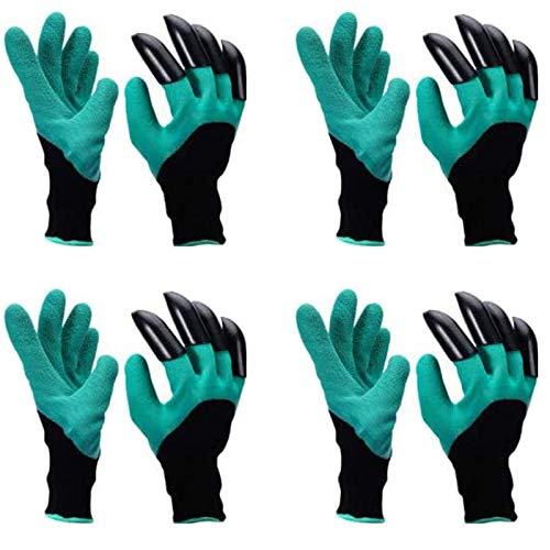 Gartenhandschuhe mit Krallen, 4 Paar Claw Garten Handschuhe Gartenhandschuhe Schutz Gartenarbeit Arbeitshandschuhe Langlebig Stichsichere Safe Gartenarbeit Handschuhe für Graben Bepflanzen Grün