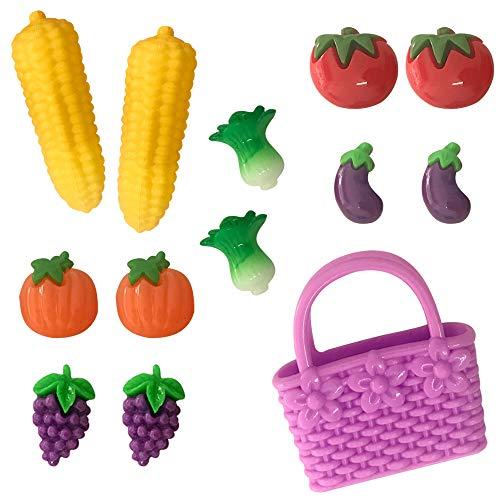 Winthai Accessori per Bambole 13 Pezzi Mini Sacchetto di Frutta e Verdura in Miniatura Finti Giocattoli compatibili con Barbie Doll House Colore Casuale