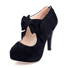 796683eee7ae Susanny Women s Fashion Suede Platform Dress Pumps with Bowti .