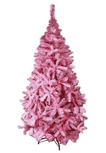 HAAC künstlicher Weihnachtsbaum in Farbe pink 150 cm Tannenbaum aufklappbar mit Metallständer Ständer