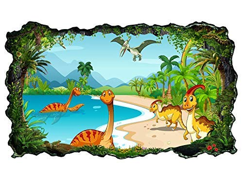 3D Wandtattoo Kinderzimmer Cartoon Dino Dinos Dinosaurier Land Palmen Tapete Wand Aufkleber Wanddurchbruch sticker selbstklebend Wandbild Wandsticker Wohnzimmer 11P711, Wandbild Größe F:ca. 140cmx82cm
