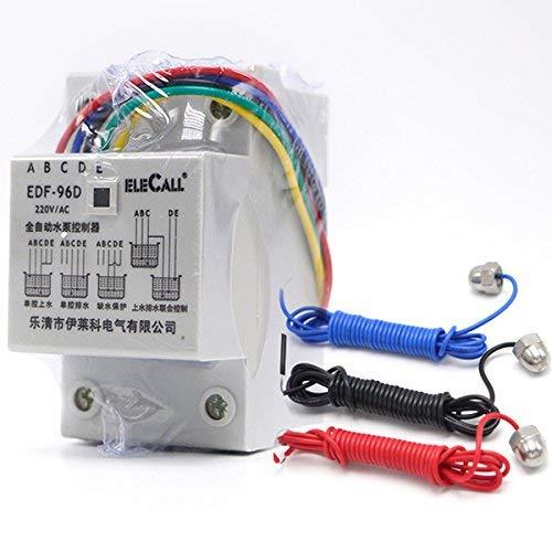 MASUNN Df96D Ac220V 5A DIN Rail Montaje Flotador Interruptor De Nivel De Agua Auto Controlador con 3 Puntas De Prueba