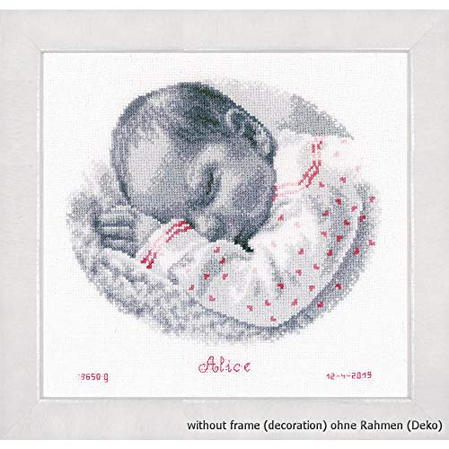 """Vervaco PN-0169612 - Kit de punto de cruz para cuadro de punto de cruz (algodón, diseño de bebé durmiendo, aprox. 25 x 24 cm / 10"""" x 9,6"""""""